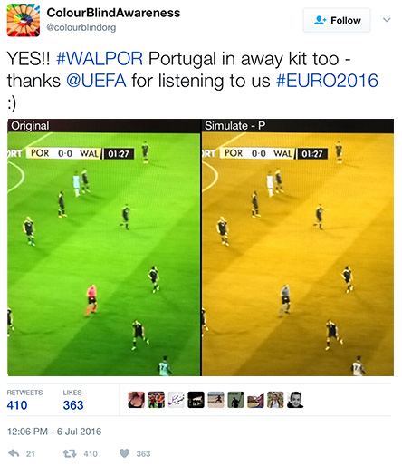 YES!! #WALPOR Portugal in away kit too - thanks @UEFA for listening to us #EURO2016 :)